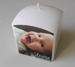 Doopkaars met foto - bedrukte kaarsen voor geboorte als origineel petergeschenk of metergeschenk_louise2