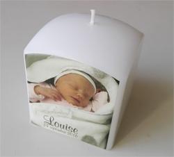 Doopkaars met foto - bedrukte kaarsen voor geboorte als origineel petergeschenk of metergeschenk_louise