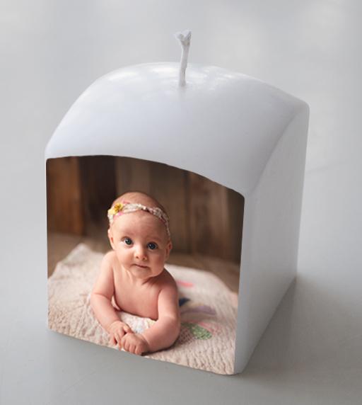 Doopkaars met foto op kaars als origineel meter en petergeschenk
