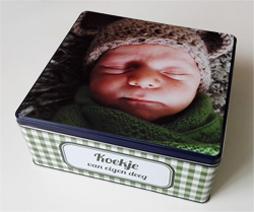 Gepersonaliseerde koekjesdoos met foto als origineel geschenk